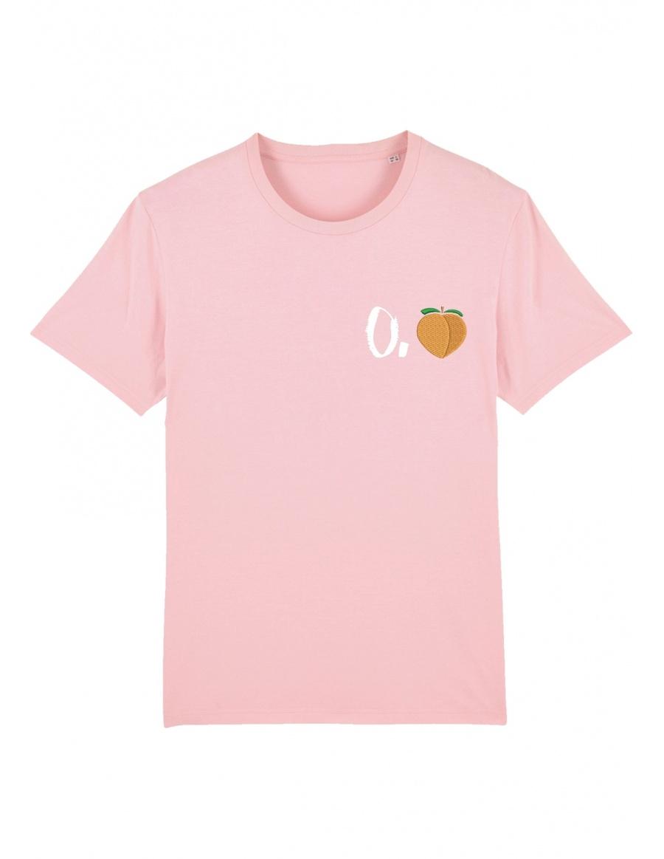 O. peach T-shirt - white writing