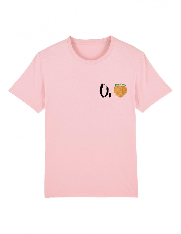 O. peach T-shirt - black writing