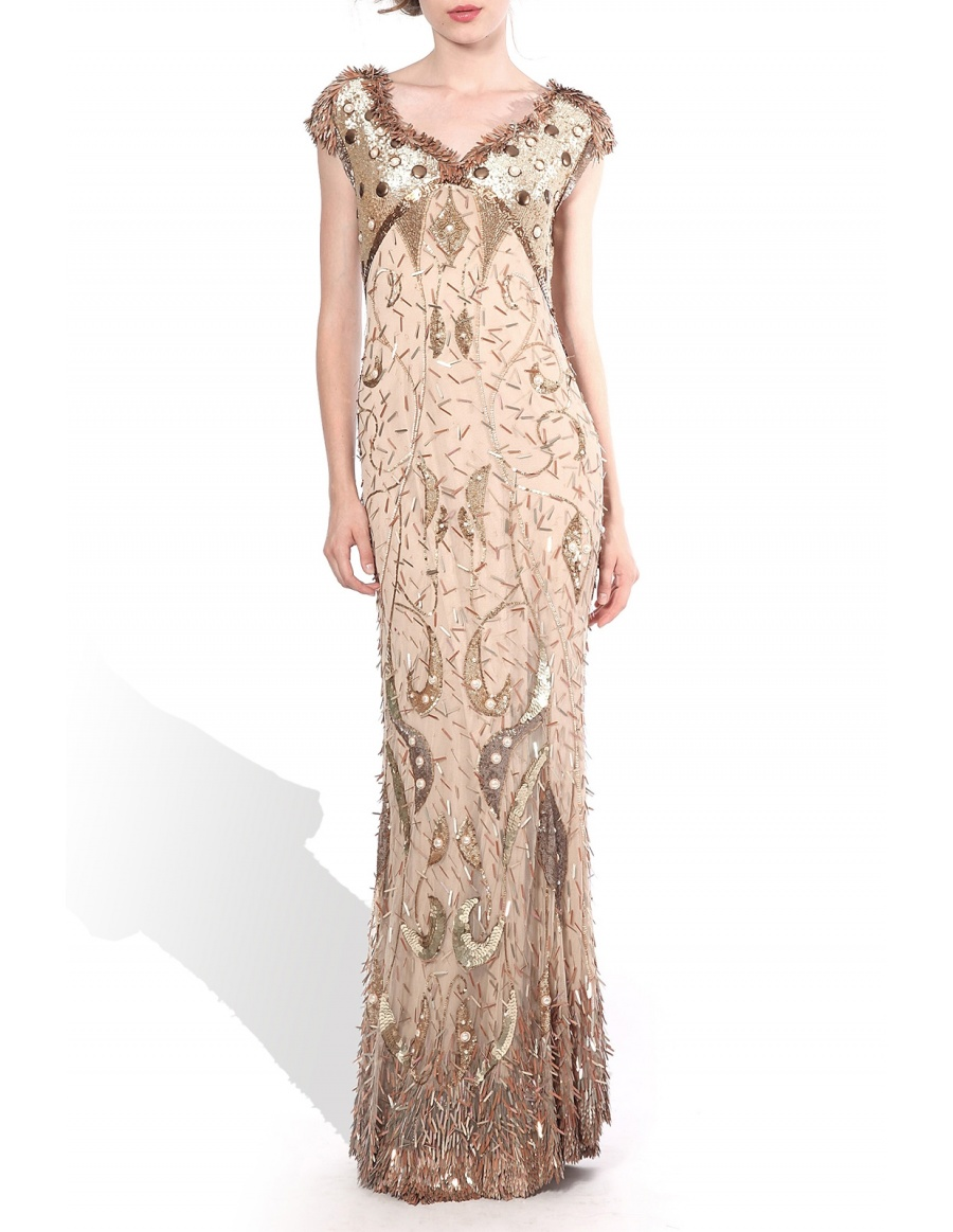 Sequined dress with pearls