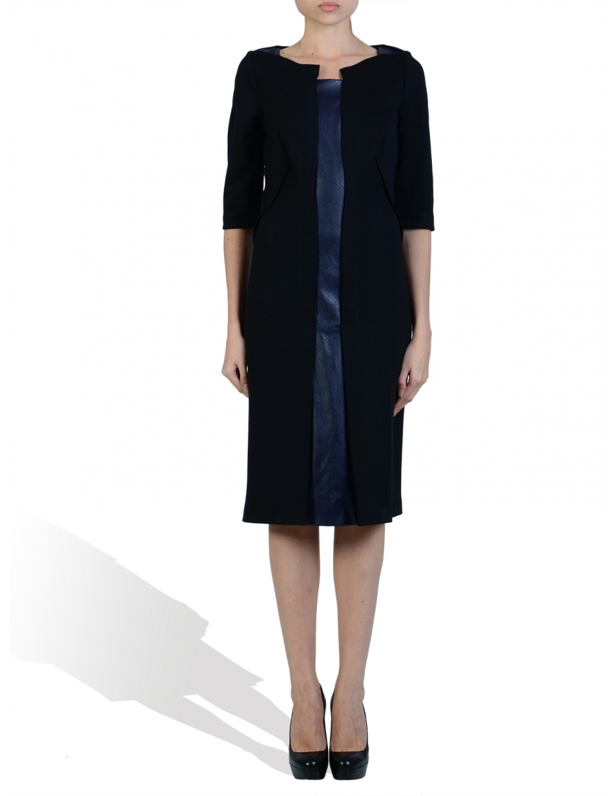 Jersey Dress with perforated leather