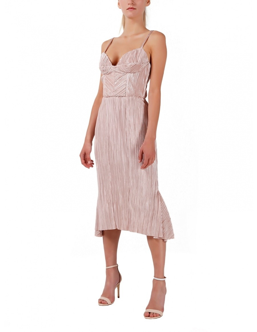 Nude pink asymmetric dress