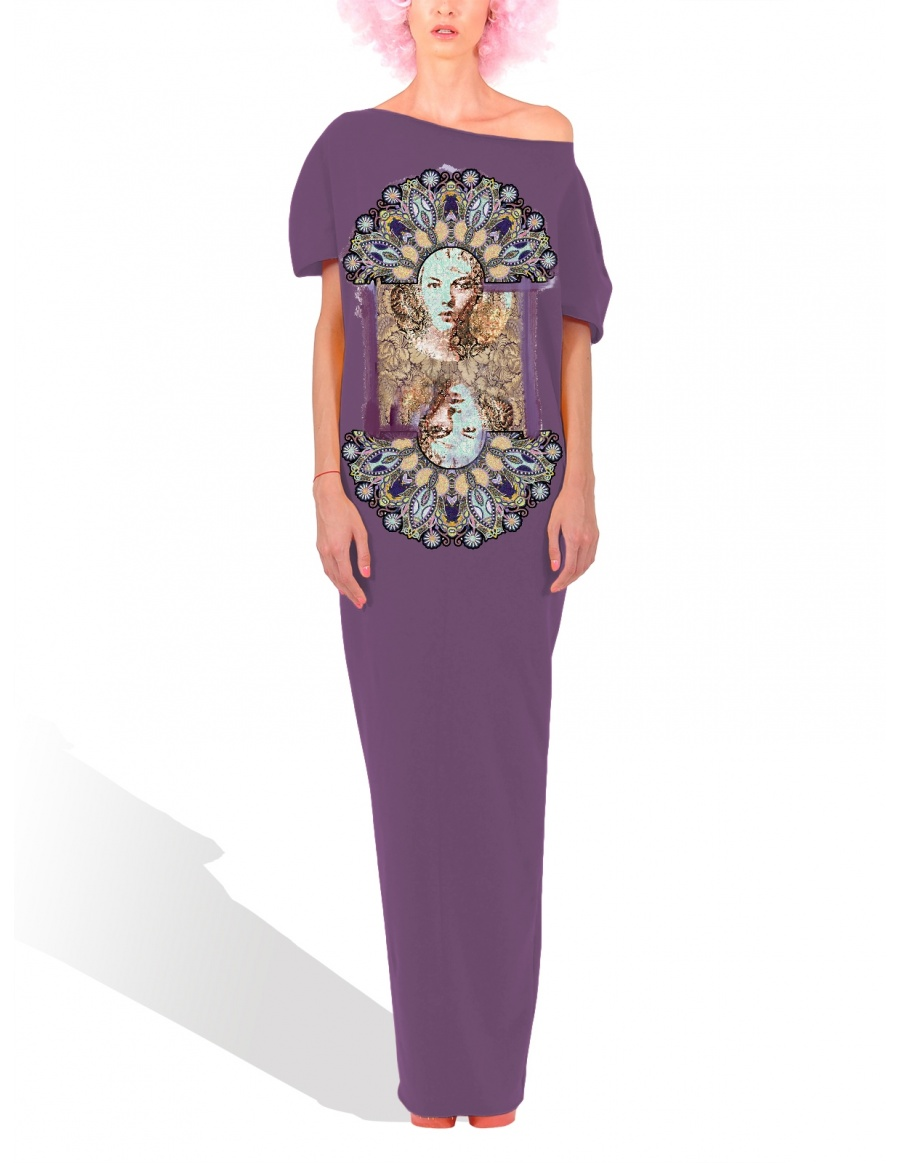 Princely Peacock maxi dress in Purple