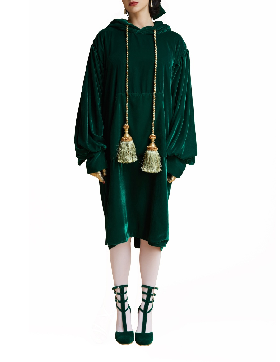 Dark emerald hoodie dress