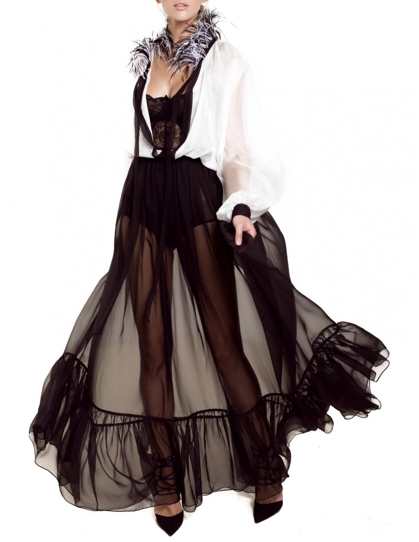 Ostrich feather collar dress