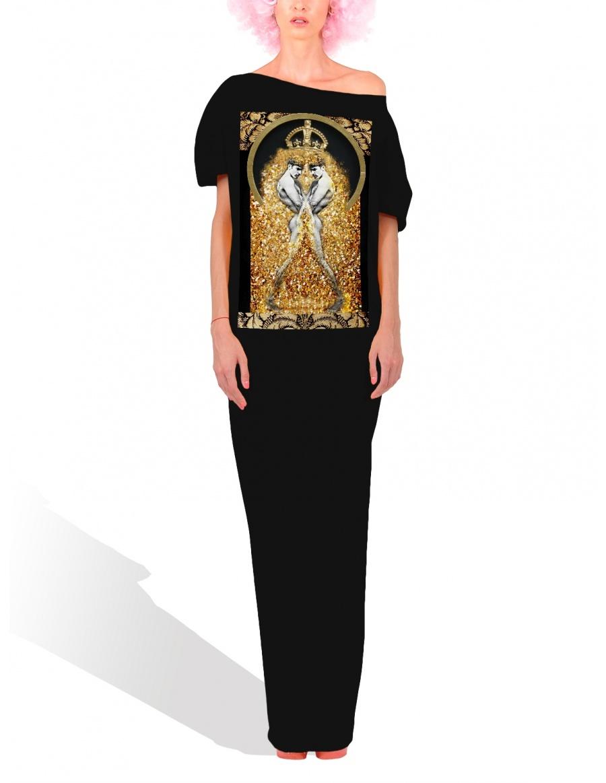 Princely Black Hamlet maxi dress