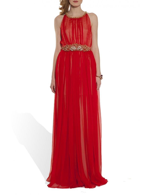 Silk veil evening gown