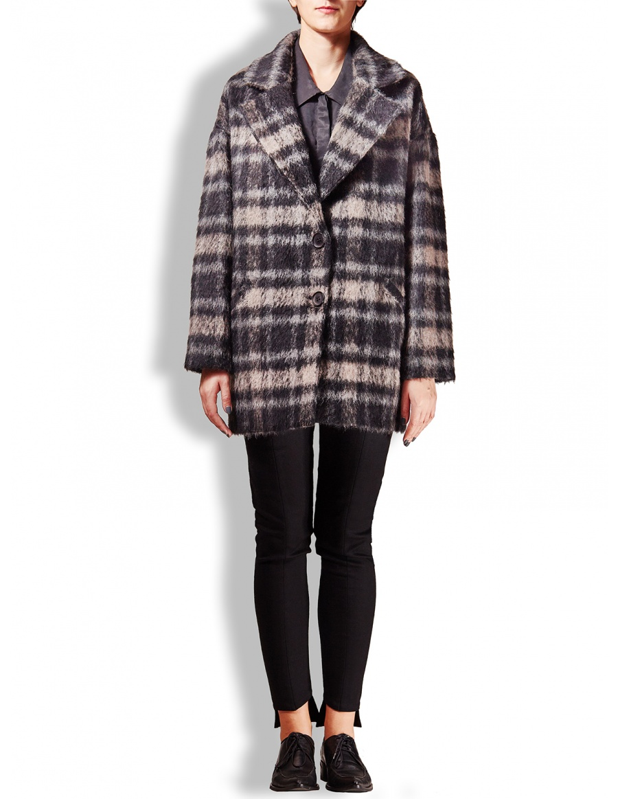 Grey and black checkered LT coat