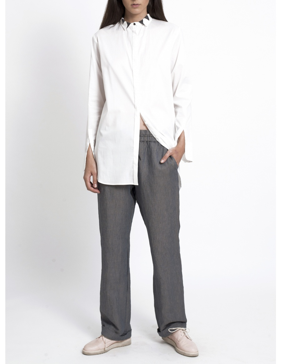 White shirt with printed collar