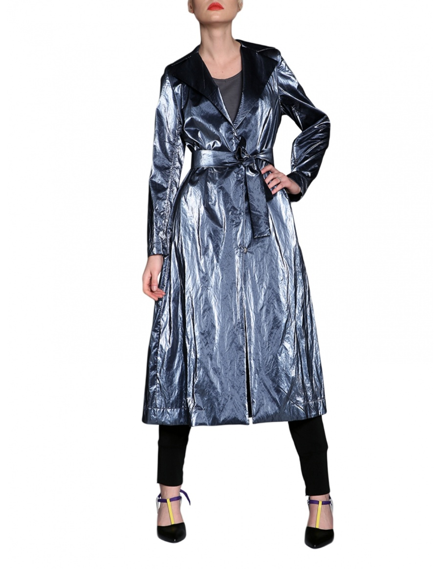 Jersey trench with adjustable sleeves   Silvia Serban