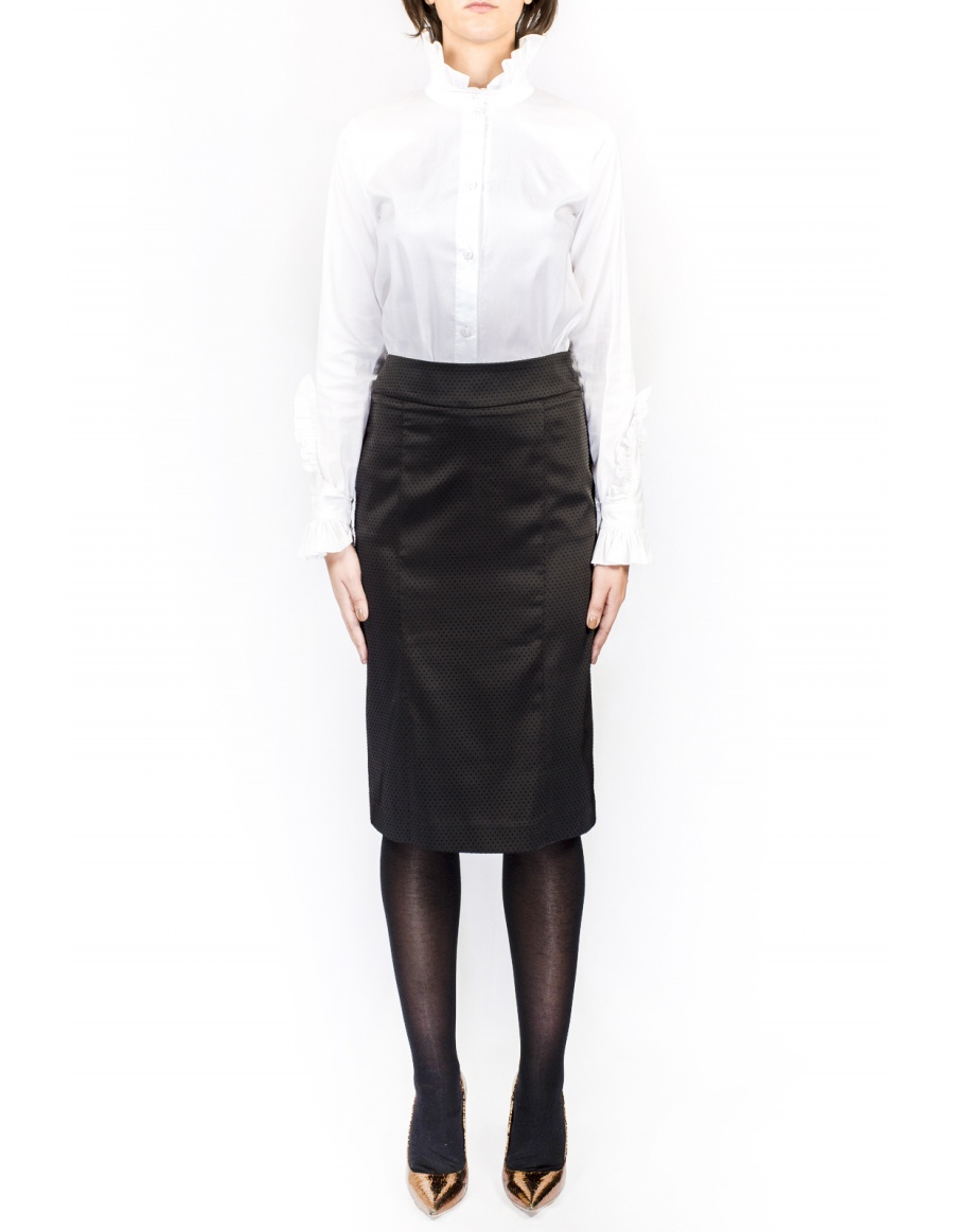 Black dotted cloth short skirt