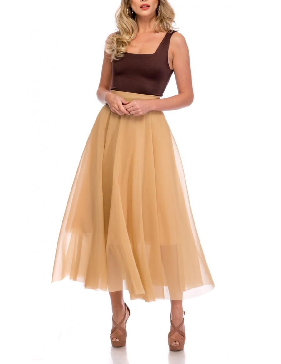 NUDE ORGANZA SKIRT | Cloche