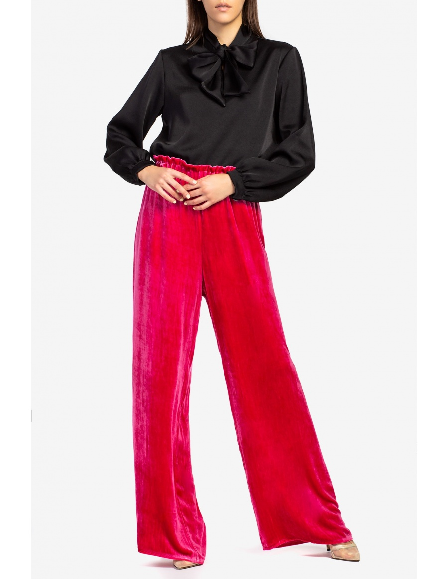 Silk- velvet wide-leg pants