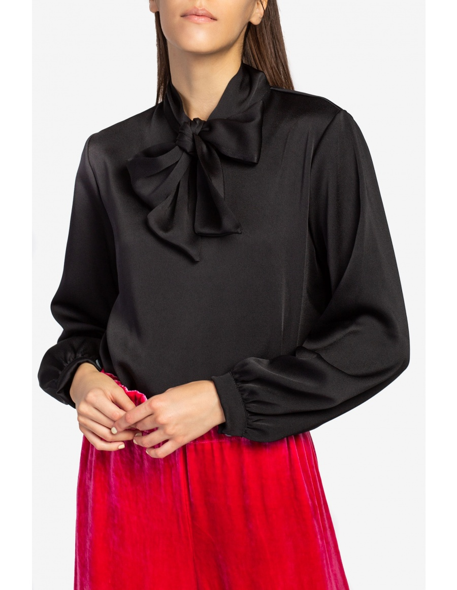Satin shirt with bow