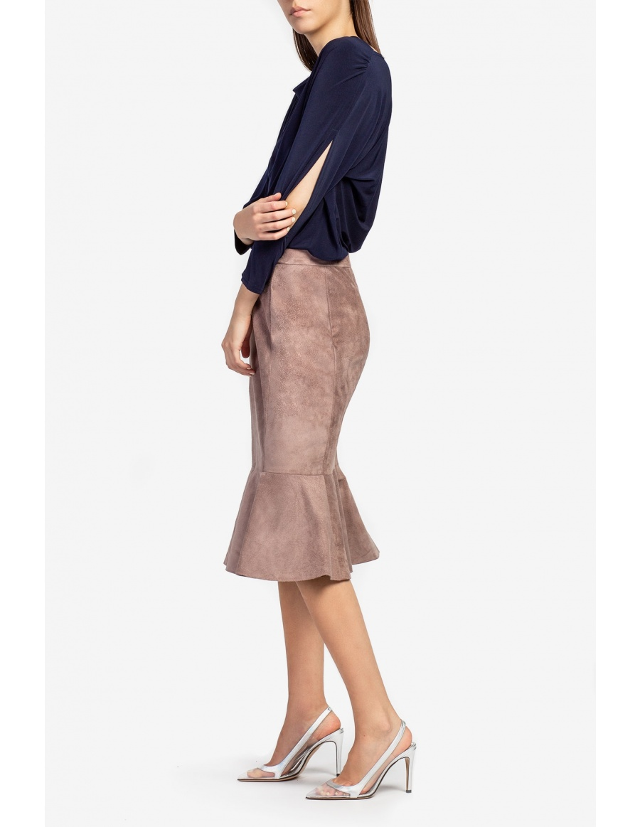 Suede midi skirt with ruffle