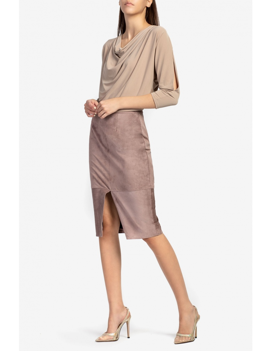 Suede midi skirt with front opening