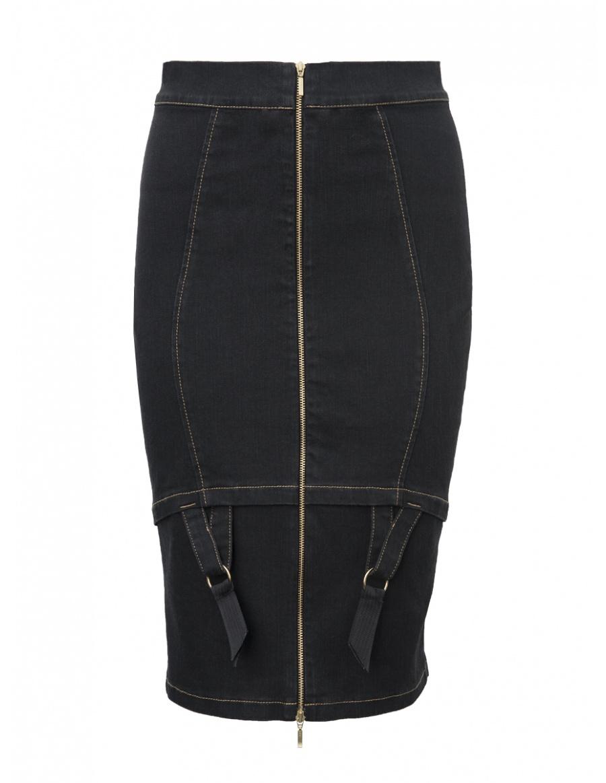 Denim Candy Midi Skirt Black