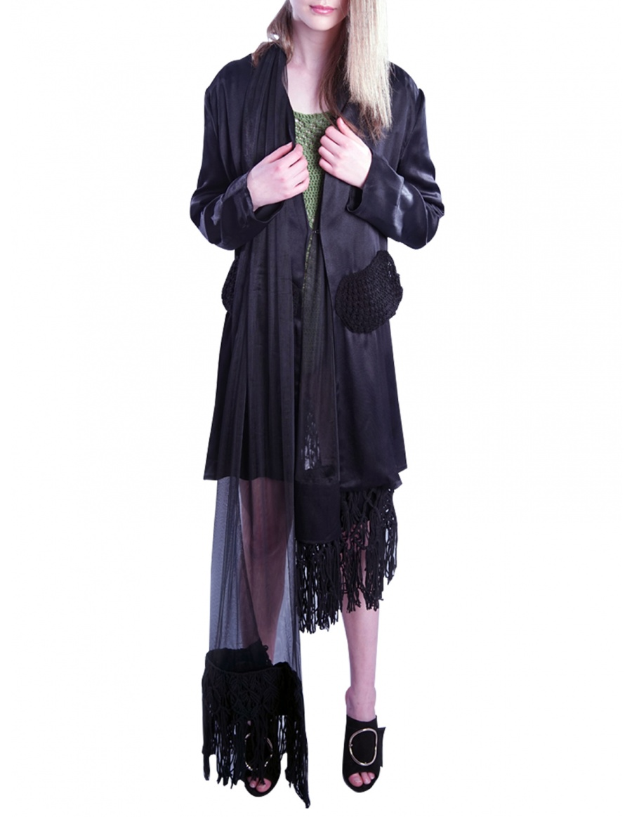 Black Jacket with Scarf