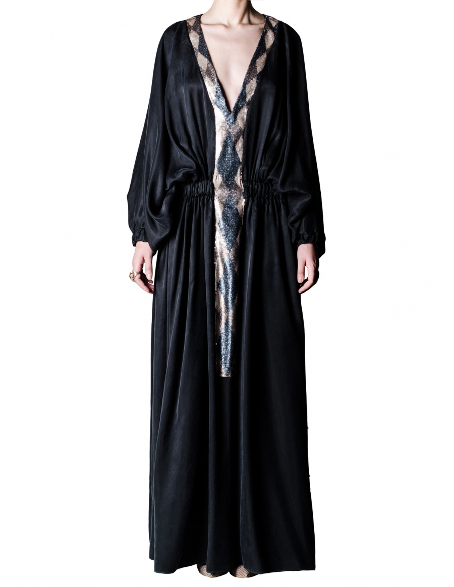 Black cupro kaftan dress with sequins