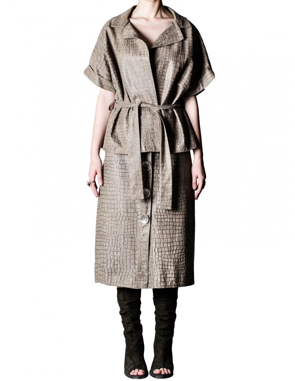 Crocodile A-line leather skirt