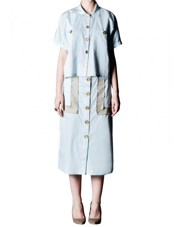 Bleu ciel A-line skirt