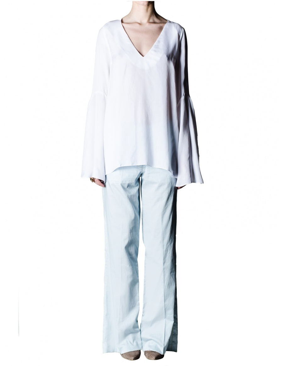 White cupro shirt with wide sleeves