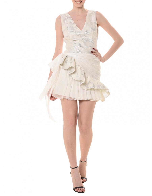 Brocade dress with ruffle