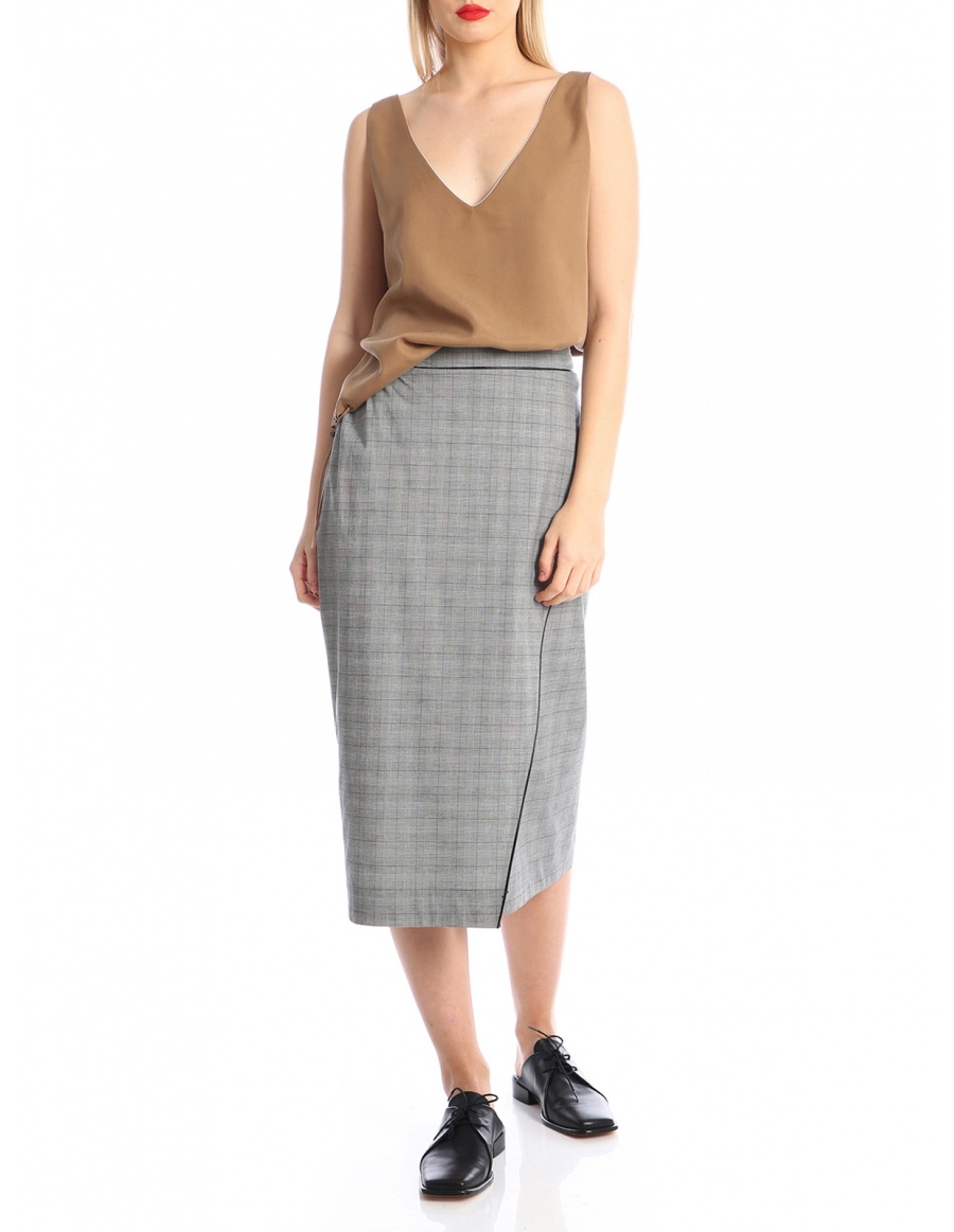 Overlaid checked skirt