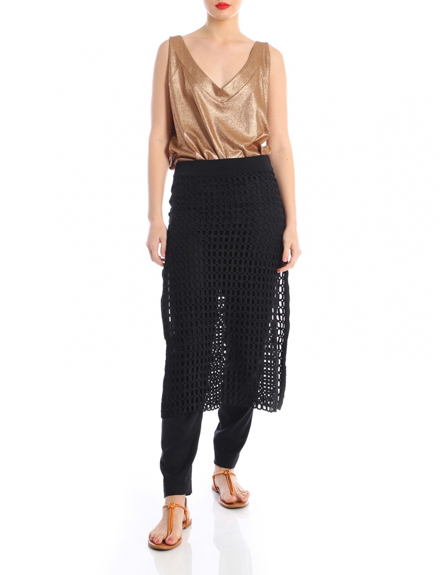 Mesh skirt with zippers