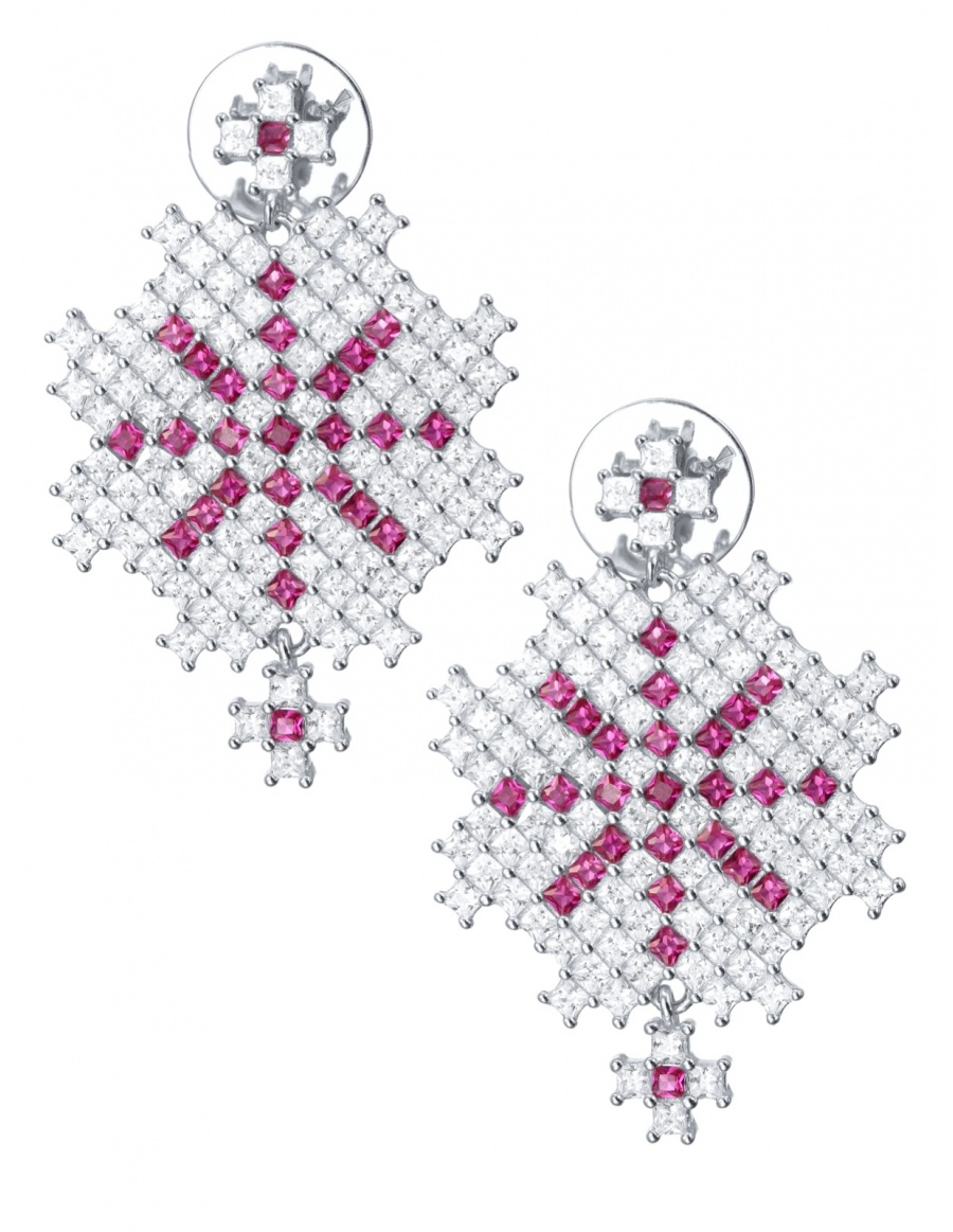 """""""Snow Embroidery"""" Earrings"""