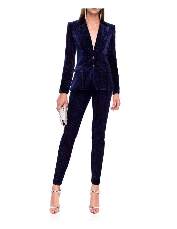 Slim velvet trousers with side straps