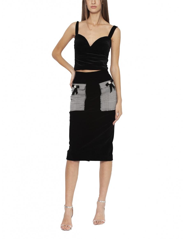 Velvet skirt with pockets