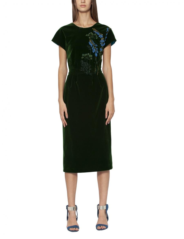 Velvet dress with handmade embroidery