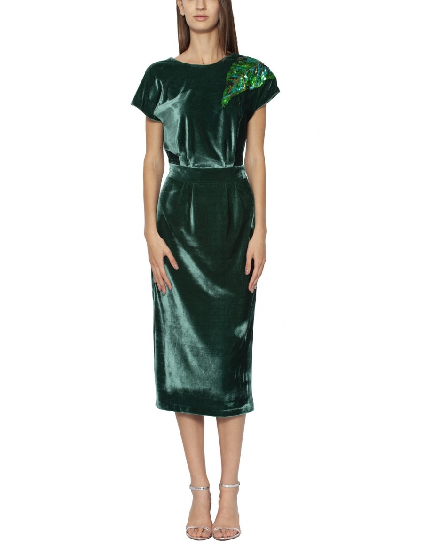 Velvet dress with sequins applique