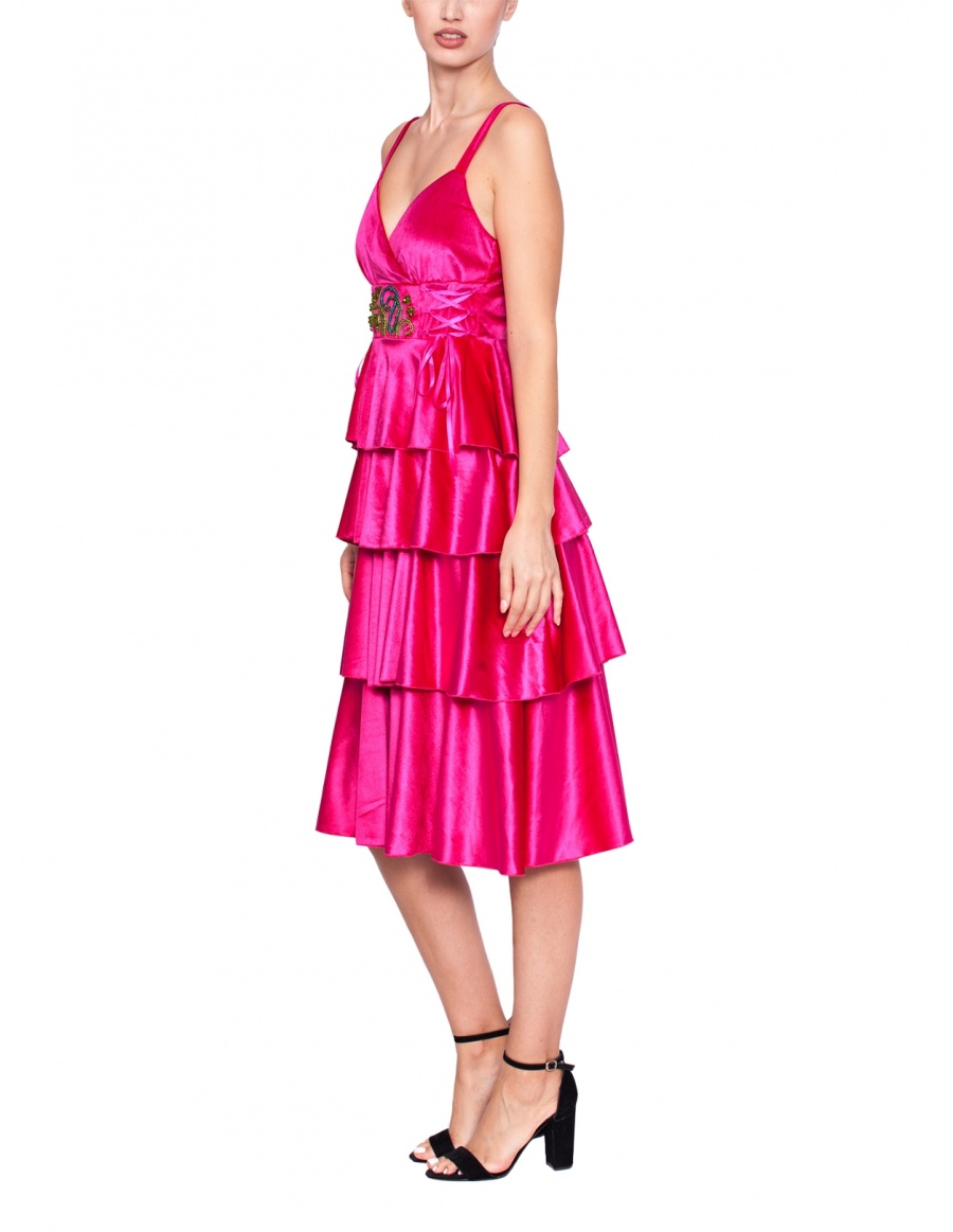 Velvet dress with ruffles and hand embroidery