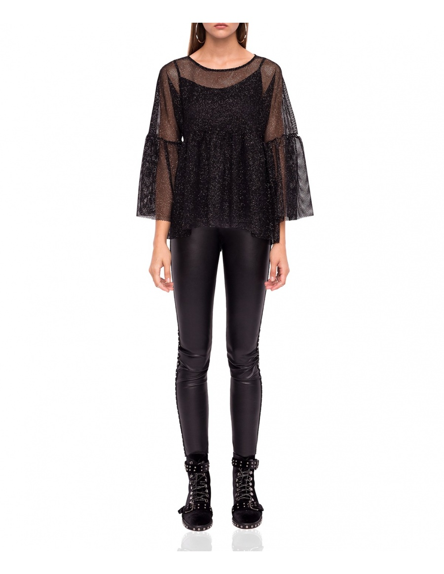 Transparent top with bell sleeves