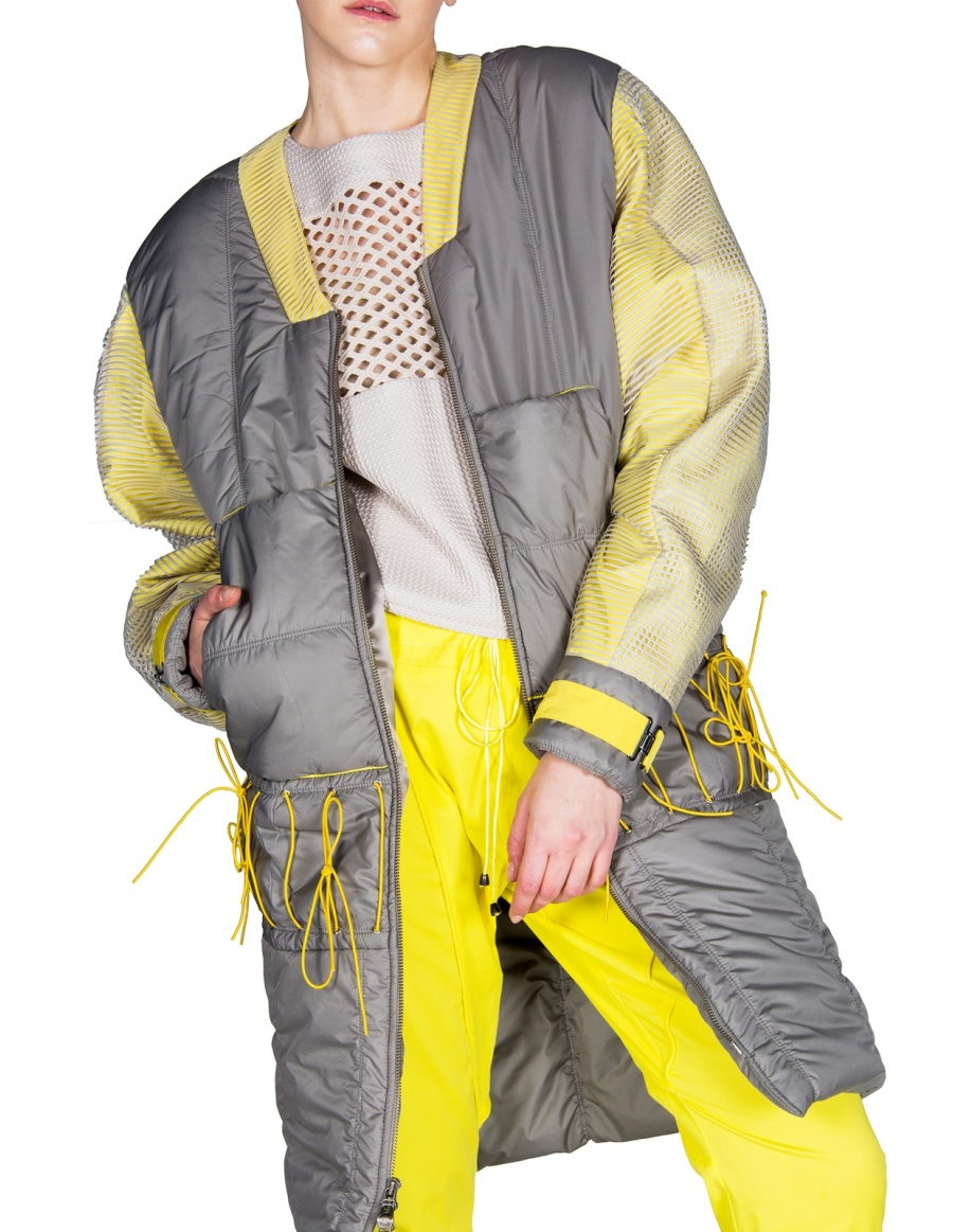 Quilted sports jacket with lemon yellow accents