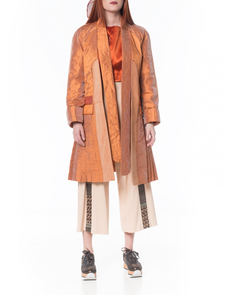 Orange jacket with pleats | Sandra Chira