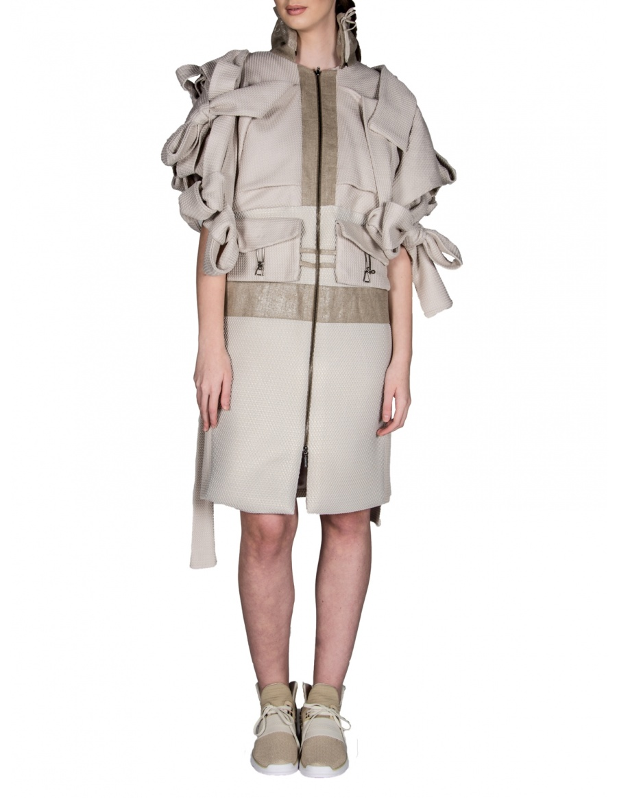 Jacket with oversized knots and bows