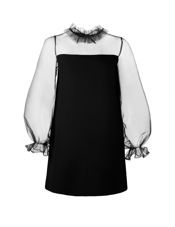 Melissa Crepe Dress with Ruffled Collar and Voluminous Sheer Sleeves