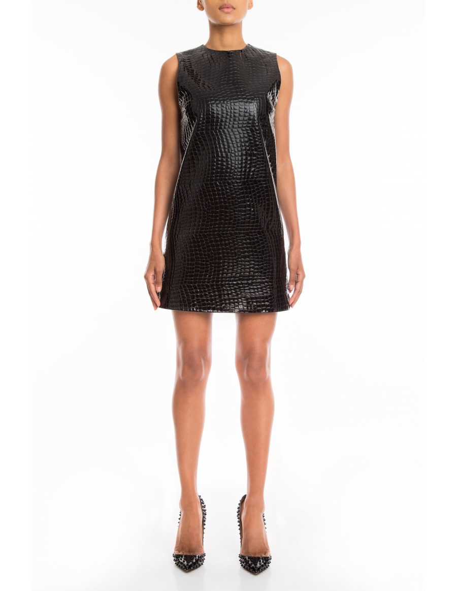 Cross Me patent croc leather dress