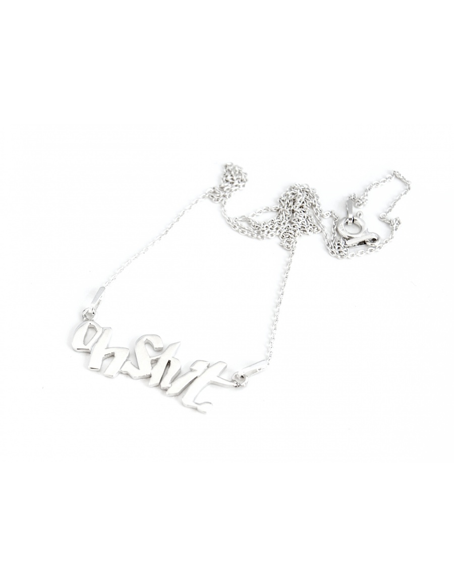 Oh Shit silver necklace by Skindeep x Moogu