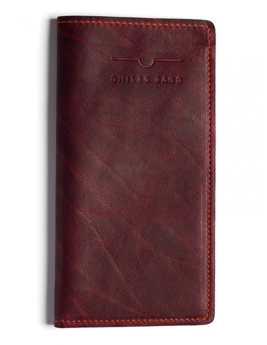 Leather traveler wallet - bordo