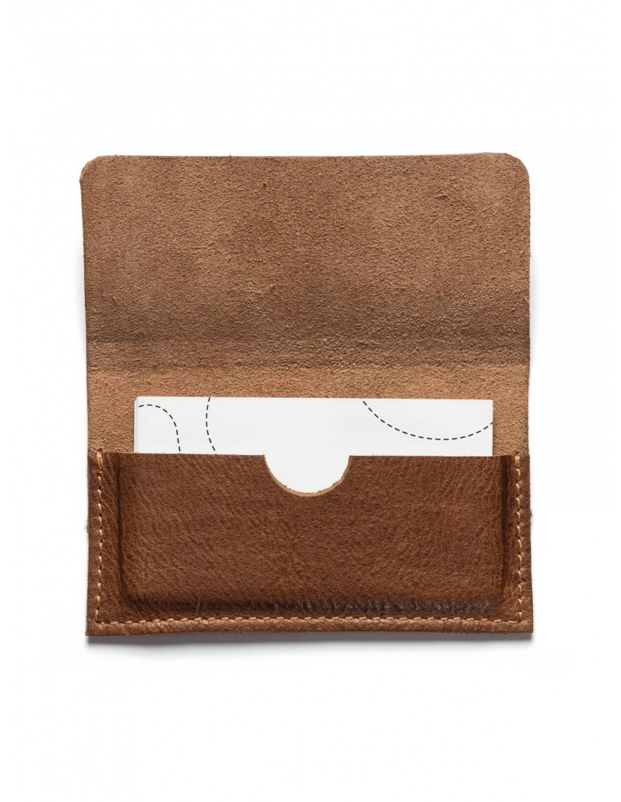 Leather business card holder - light brown