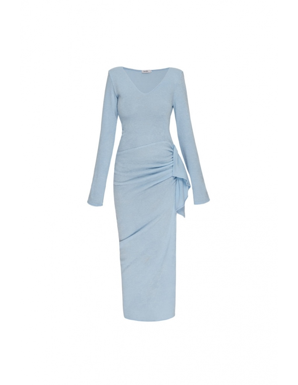 Rona blue v neck dress