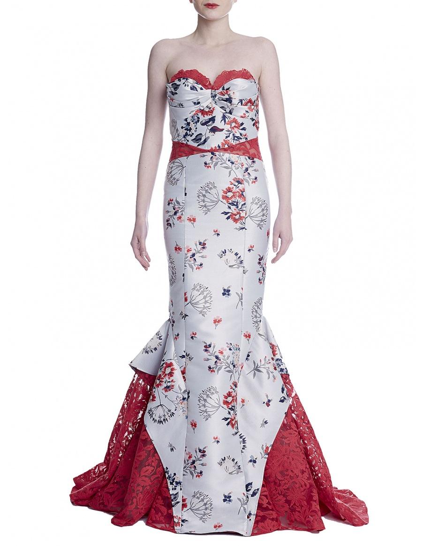 Mermaid dress with floral print