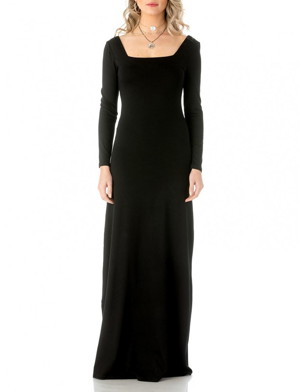 Square neckline maxi dress