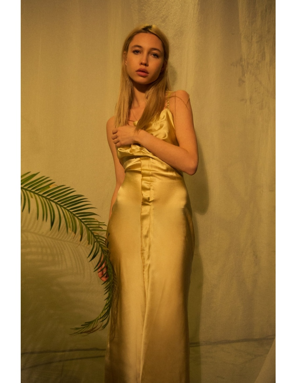 FeltCute2020 golden Silk Dress