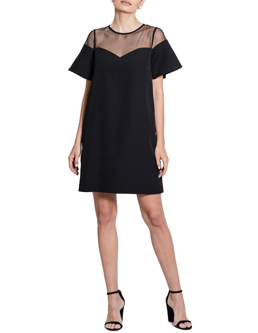 Margaret Black Mini Dress with Ruffled Sleeves