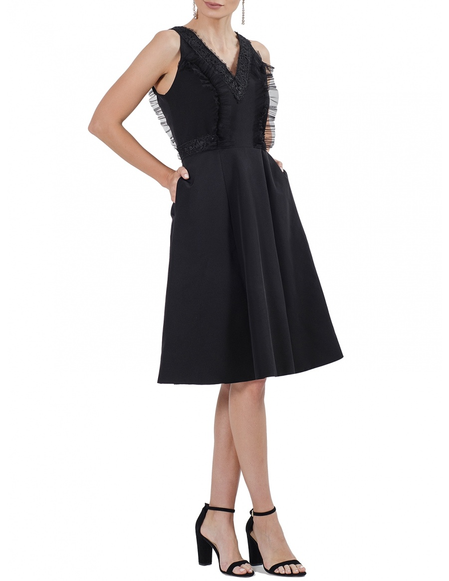 Florence Black Dress with Lace and Ruffles