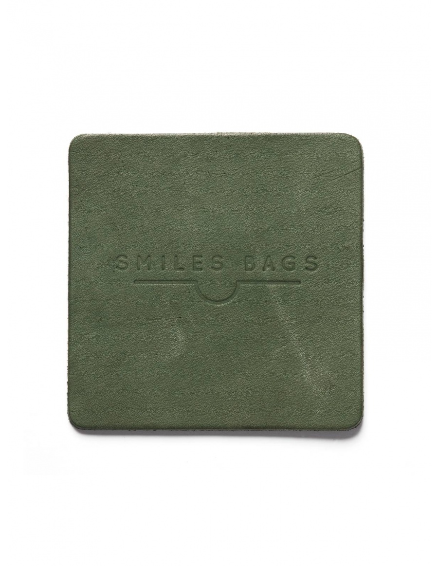 Leather mug coaster - green